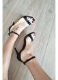 Topukla 63 Tek Bant Deri Ayakkabı 8Cm Siyah
